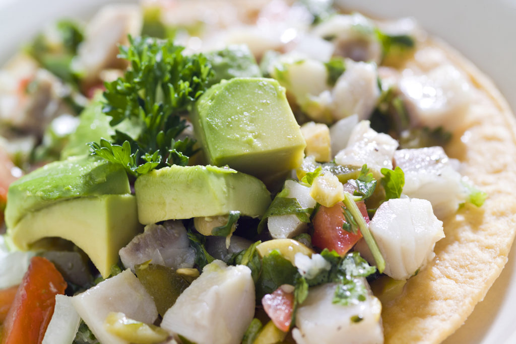 Scallop Ceviche Tostada with Tomato and Avocado Salsa